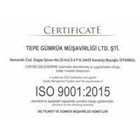 Firmamız ISO 9001:2015 Kalite Yönetim Sistemi belgesi almaya hak kazanmıştır.