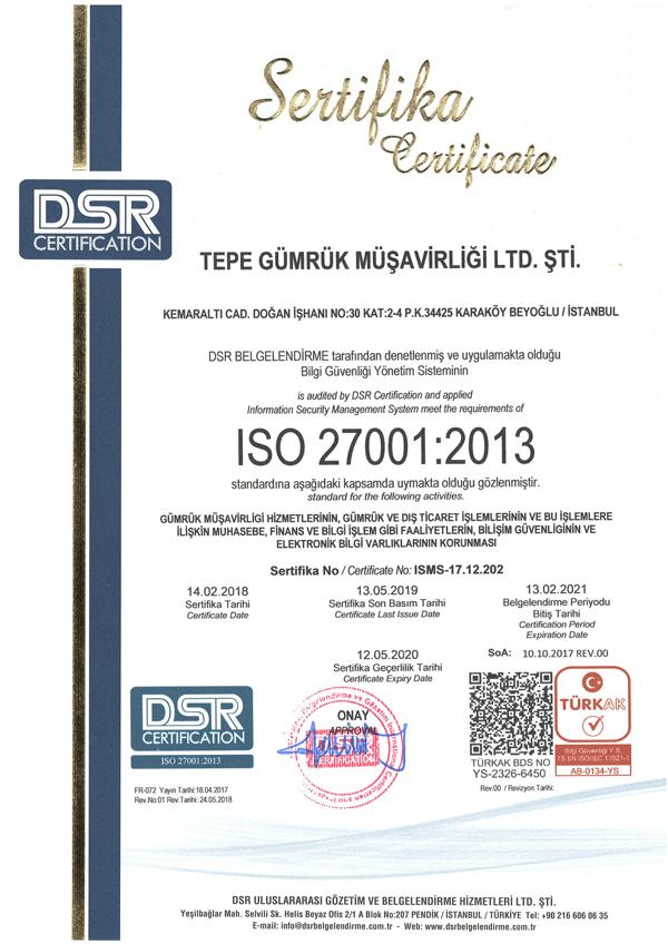 Şirketimiz, TÜRKAK ISO 27001:2013 Bilgi Güvenliği Yönetim Sistemleri Standartları denetlemesini bu yılda başarı ile tamamlamıştır.