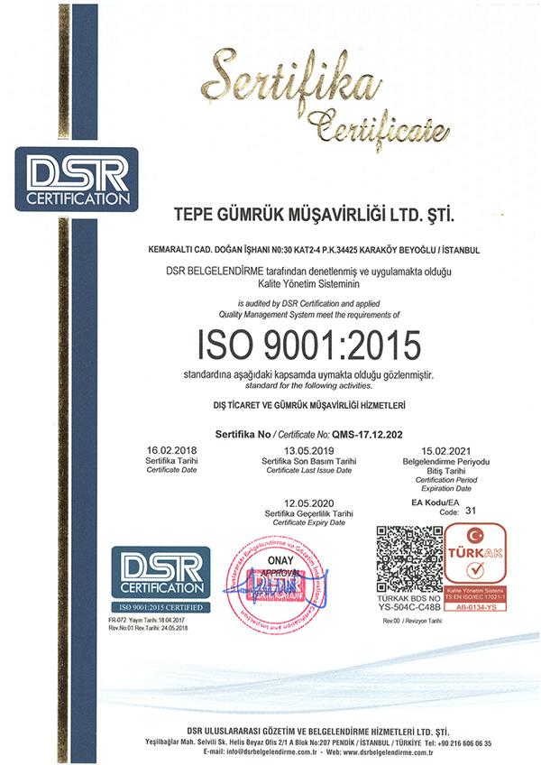 Şirketimiz, TÜRKAK ISO 9001:2015 Kalite Yönetim Sistemi Standartları denetlemesini bu yılda başarı ile tamamlamıştır.